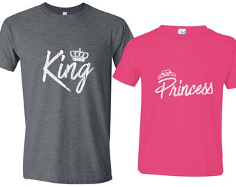 85a7a8f7 Matching Father Daughter Shirts, King Princess Father Shirt Daughter Royal  Matching Family Shirts First Fathers Day Men's Todder Tee