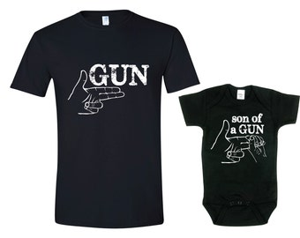 b82bb8d425 Daddy and Son Shirt, Gun - Son of a Gun T-Shirt, Set of 2 Father Son T  Shirts,Fathers Day Gift Shirt,Father Son Matching T Shirts
