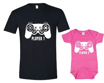 Father Daughter Matching Shirt Bodysuit Player 1 Player 2 Shirts Dad and Baby Matching Shirts Matching Family Shirts Girl Father's Day