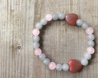 Bracelet rose quartz, bracelet heart wristband woman