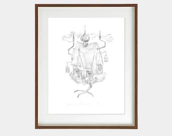Original artwork/ Witch house / Ink on paper / Original illustration / Illustration art /Drawing/Signed by artist/ 29,7 x 42 cm