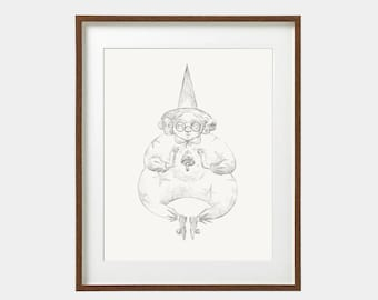 Original artwork/ mushroom / Ink on paper / Original illustration / Illustration art /Drawing/Signed by artist/ 29,7 x 42 cm