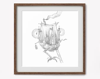 "Art print : ""Yaga's house"" / Fine art / Print / Original illustration / Illustration art / magic / Yaga's house / 23x23 cm"