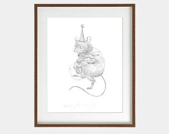 Original artwork/ moon hat / Ink on paper / Original illustration / Illustration art /Drawing/Signed by artist/ 29,7 x 42 cm