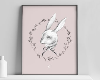 "Art print : Familiars ""bunny""/ Fine art/ Print / Original illustration / Illustration art / magic/bunny/hare/40x50"