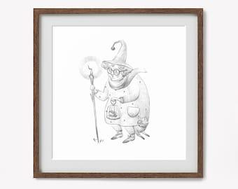 "Art print : ""Witch"" / Fine art / Print / Original illustration / Illustration art / magic / Witch / 23x23 cm"