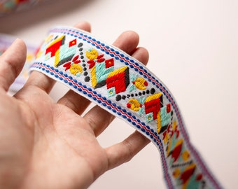 Geometric Embroidery Vintage Fabric Trim 40mm Thick