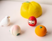 Ceramic Fortune Figurine Japanese Daruma Bird Peach Orange Lucky Charm Diorama Supplies