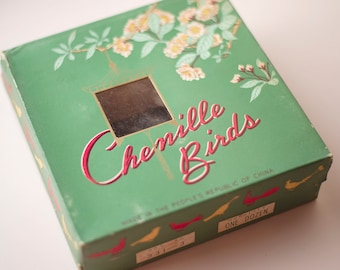 Big Chenille Birds Vintage Box Packaging of 12