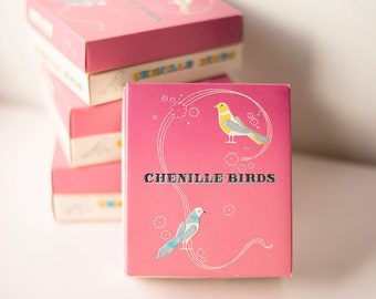 Small Chenille Birds Vintage Box Packaging of 12