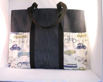 Antique Car and denim Diaper Bag