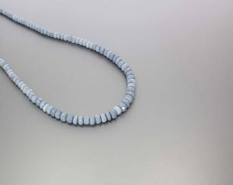 Blue Opal Faceted Rondelle Beads 4.5 to 7mm AA Necklace for Women