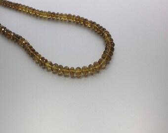 Cognac Quartz Faceted Rondelle Beads 7 to 10.5 mm AA Necklace for Women