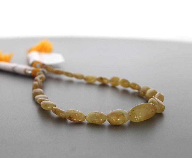 Price Per Strand 8 Inch 20 Cm Full Strand 6.5x5 to 14x8.5 mm Yellow Sapphire Gem Quality Yellow Sapphire Smooth Tumble