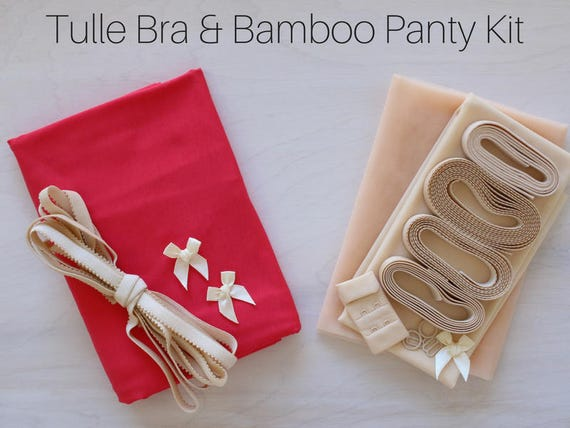 Blush Tulle  Coral Bamboo Bra   Panty Kit! Includes FREE Underwires! 48096f7b8
