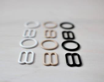 """Sliders&Rings Set: 1/2"""" (12mm), Nylon Coated Metal, in Black, White Or Latte! DIY Bra-Making Supplies!"""