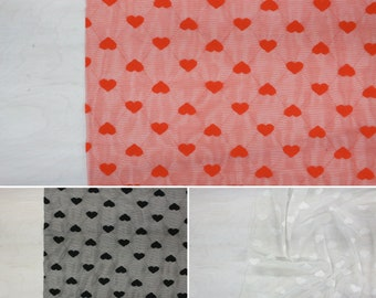 Hearts Stretch Mesh | Black, Scarlet, White | by the 1/2 meter