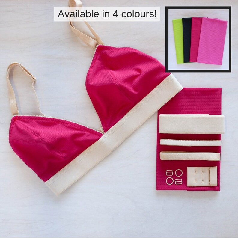 Pink /& Black Wicking Jordy Bralette Kits Raspberry Chartreuse