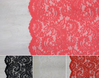 Donna Lace Fabric | Black, White, Coral, Scarlet | Non-Stretch Lace | by the 1/2 meter