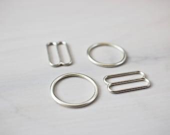 "Sliders&Rings Set: 3/4"" (20mm), Stunning Silver , DIY Bra-Making Supplies!"