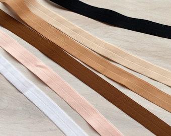 "Fold Over Elastic 3/8"" | finished width 3/8""(9mm), flat width 3/4"" (18mm)"