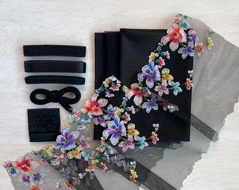 Duoplex & Multicolour Floral Lace Bra Kit | Black Beauty Bra