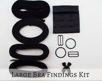 "Large Bra Findings Kit - Black Premium Elastics & Findings for an Underwired Bra! (3/4"" band and strap, 3X3 Hook and Eye)"