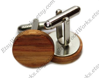 Tulipwood Wood Cufflinks, Cufflinks, Suit, Executive Gift, Dad Gift, Natural Cufflinks, Stainless Steel