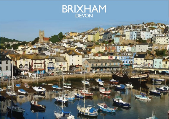 002 Brixham Harbour Devon England Mounted Photo Print A4