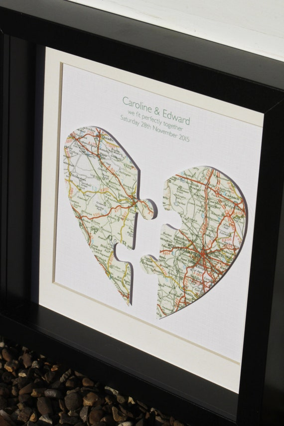 Personalised Handmade Jigsaw Map Hearts Picture