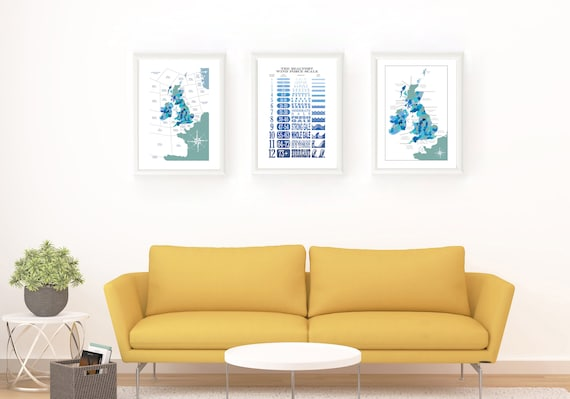 Shipping Forecast Map, Beaufort Scale and UK Inshore Waters Map - LIMITED OFFER - All Three Prints for a Limited Price