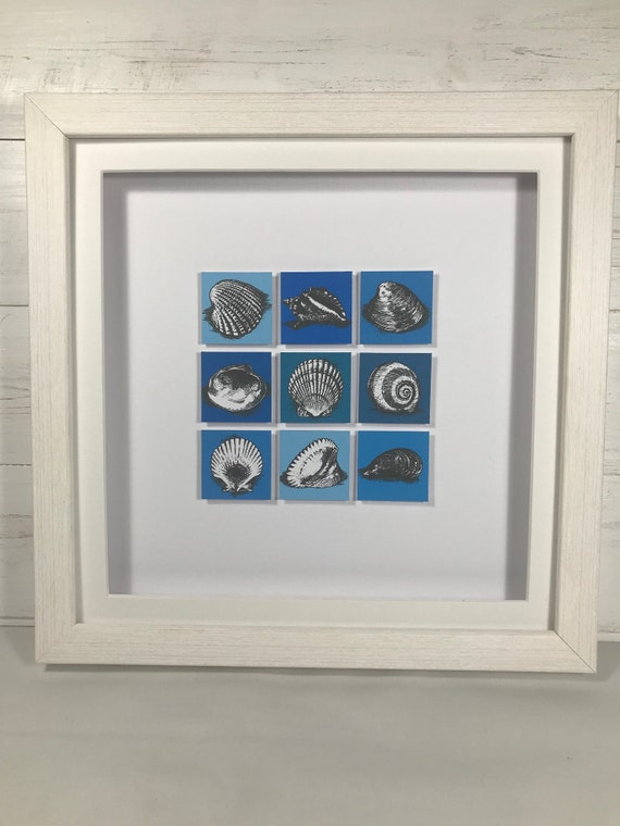 Ink illustrations of shells on canvas tiles - handmade and framed
