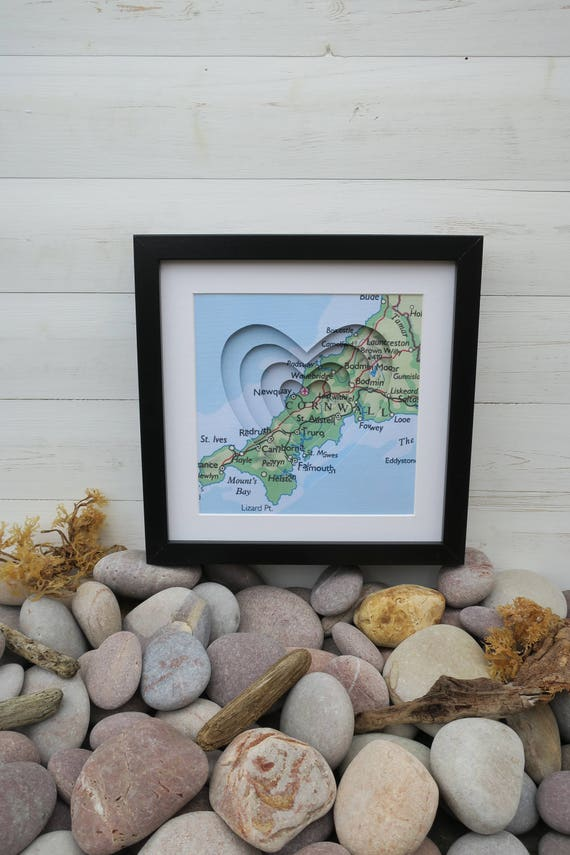 Handmade and Handcut Three Dimensional Map of Cornwall