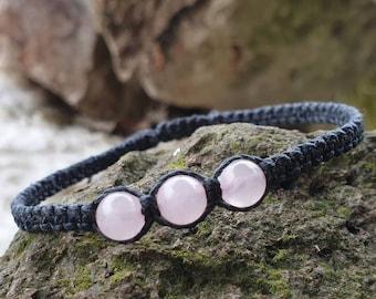 Rose Quartz beaded Bracelet | deep inner healing ~ feelings of peace ~ dispels negativity ~  increase fertility ~ protect from miscarriage