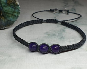 Amethyst beaded Bracelet | relieves stress + strain ~ dispels fear + anxiety ~ alleviates grief ~ encourages sobriety ~ draws off pain
