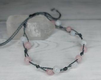 Moonstone & Rose Quartz bracelet | inner peace ~ emotional healing ~ calmness ~ fertility bracelet Adjustable Bracelet, Jewellery For Women
