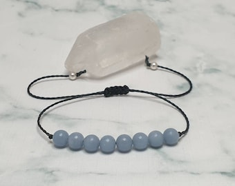 Angelite bracelet | promotes communication + self-expression ~ dispels fear and anxiety ~ transmutes pain+disorder into wholeness + healing
