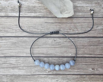 Blue Lace Agate bracelet | calms the emotional body ~ aids confidence in communication ~ peace of mind ~ focuses the mind