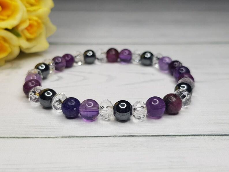 Amethyst bracelet & Hematite bracelet  Addiction Bracelet  image 0