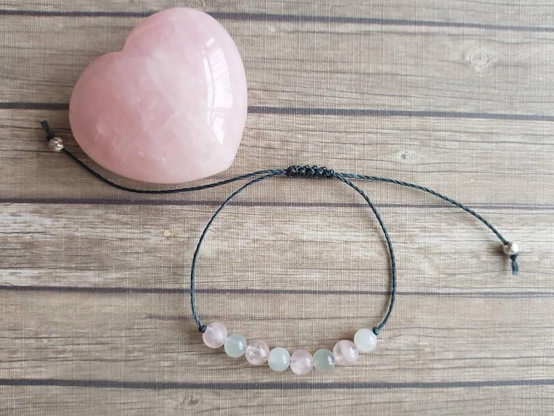 Rose Quartz Moonstone bracelet  inner peace  emotional image 0