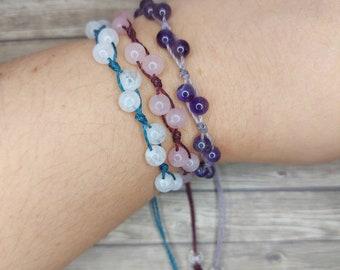 Crystal Bracelet ~ Everyday Bracelet ~ Rose Quartz bracelet - Moonstone bracelet - Amethyst bracelet ~ Pick your Gems ~ Custom Gem Bracelet