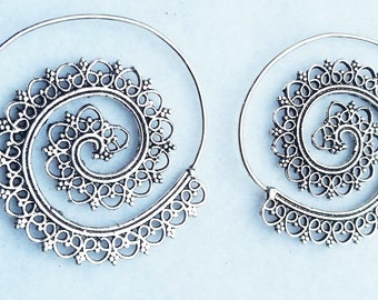 Silver Spiral Earrings, Silver Earrings, Earrings, Boho Earrings, Tribal Jewellery, Ethnic Jewellery, Silver Jewellery
