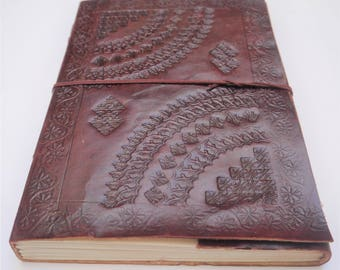 Large Leather Journal, Mandala Leather Journal, Refillable Journal, Scrapbook, Notebook, Diary, Sketchbook.