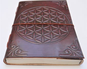 20 cm x 15 cm Leather journal, Flower of Life Journal, Refillable Journal, Notebook, Diary, Mandala notebook, Sketchbook.