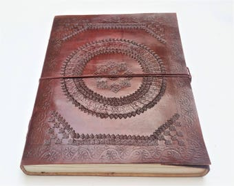A4 Leather Journal, Mandala Leather Journal, Refillable Journal, Large Journal, Leather Notebook, Scrapbook, Diary, Sketchbook.