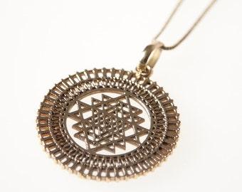 20%OFF Sri Yantra Brass Pendant, Necklace, Sacred Geometry, Brass Pendant, Brass Jewellery, Indian Jewellery, Gypsy Jewellery,Boho Jewellery