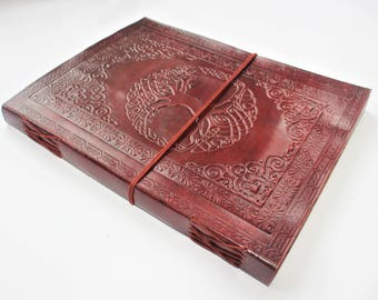 A4 Tree of Life Journal, Mandala Leather Journal, Refillable Journal, Large Journal, Leather Notebook, Scrapbook, Diary, Sketchbook.