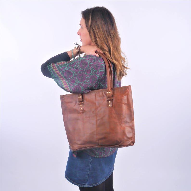 Leather Shoulder Bag Handbag Leather Bag Boho Bag Large image 0