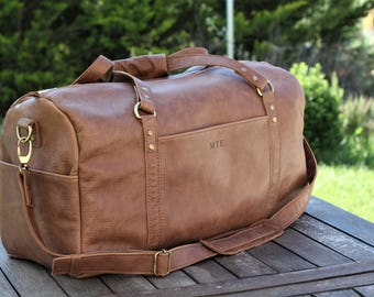 c44fee51f65e Leather Duffle Bag - Duffel bag brown leather - weekender duffel bag