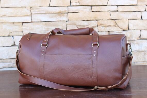 Brown leather duffle bag mens womens duffle bag weekender  f1ba3d292